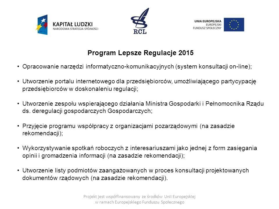 Projekt jest współfinansowany ze środków Unii Europejskiej w ramach Europejskiego Funduszu Społecznego Program Lepsze Regulacje 2015 Opracowanie narzę