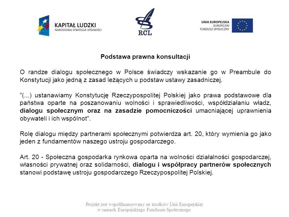 Projekt jest współfinansowany ze środków Unii Europejskiej w ramach Europejskiego Funduszu Społecznego Podstawa prawna konsultacji O randze dialogu sp