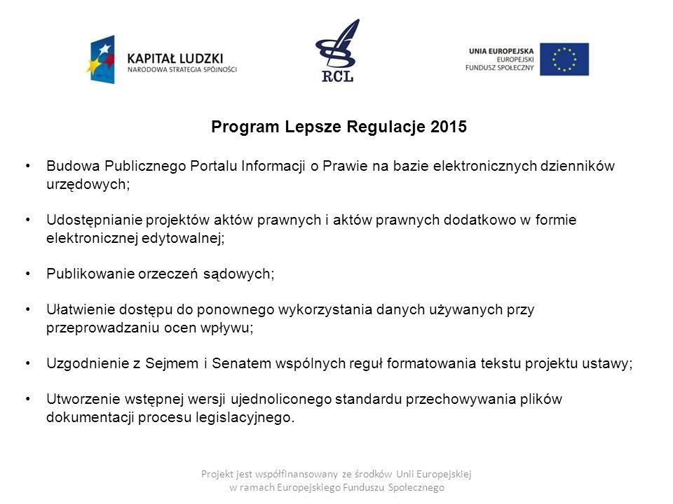 Projekt jest współfinansowany ze środków Unii Europejskiej w ramach Europejskiego Funduszu Społecznego Program Lepsze Regulacje 2015 Budowa Publiczneg