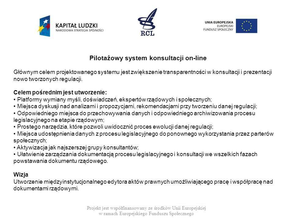 Projekt jest współfinansowany ze środków Unii Europejskiej w ramach Europejskiego Funduszu Społecznego Pilotażowy system konsultacji on-line Głównym c