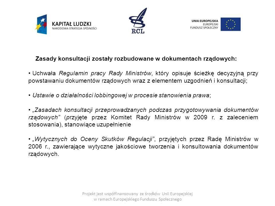 Projekt jest współfinansowany ze środków Unii Europejskiej w ramach Europejskiego Funduszu Społecznego Zasady konsultacji zostały rozbudowane w dokume