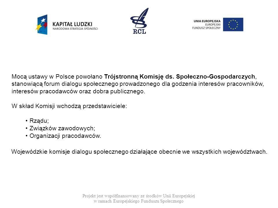 Projekt jest współfinansowany ze środków Unii Europejskiej w ramach Europejskiego Funduszu Społecznego Mocą ustawy w Polsce powołano Trójstronną Komis