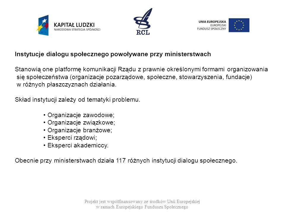 Projekt jest współfinansowany ze środków Unii Europejskiej w ramach Europejskiego Funduszu Społecznego Instytucje dialogu społecznego powoływane przy
