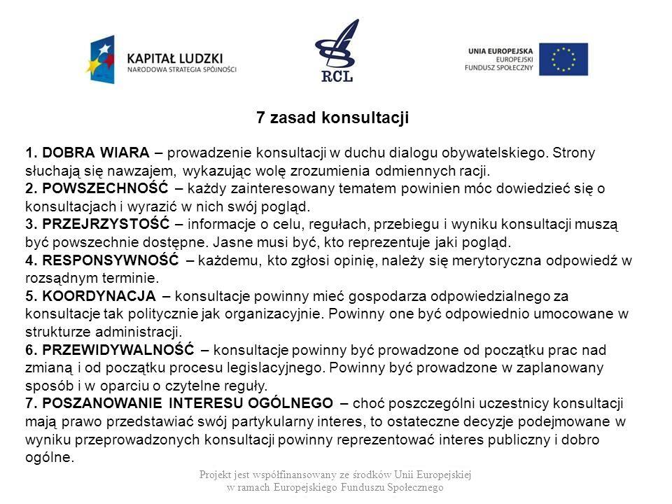Projekt jest współfinansowany ze środków Unii Europejskiej w ramach Europejskiego Funduszu Społecznego 7 zasad konsultacji 1. DOBRA WIARA – prowadzeni
