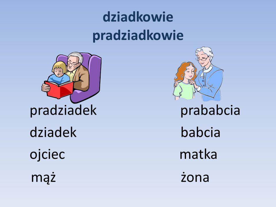 dziadkowie pradziadkowie pradziadek prababcia dziadek babcia ojciec matka mąż żona
