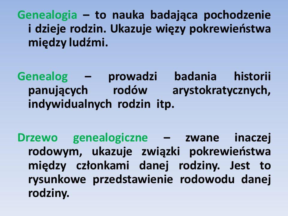 Genealogia – to nauka badająca pochodzenie i dzieje rodzin. Ukazuje więzy pokrewieństwa między ludźmi. Genealog – prowadzi badania historii panujących