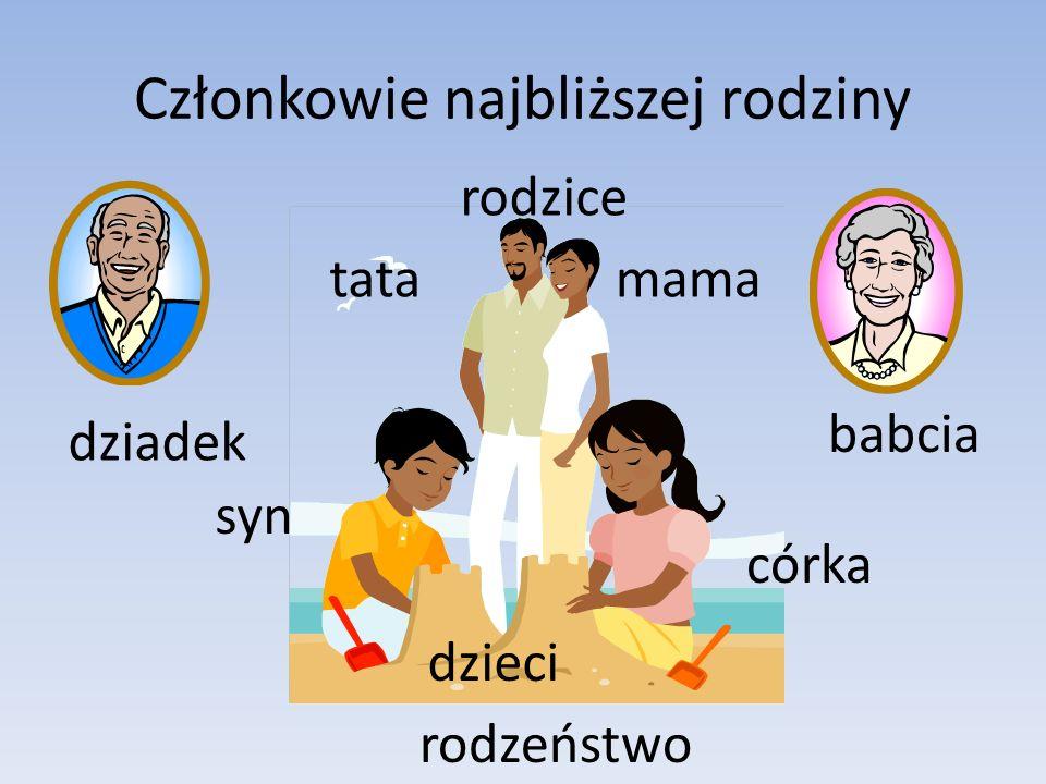 Członkowie najbliższej rodziny mamatata dzieci córka syn rodzeństwo rodzice dziadek babcia