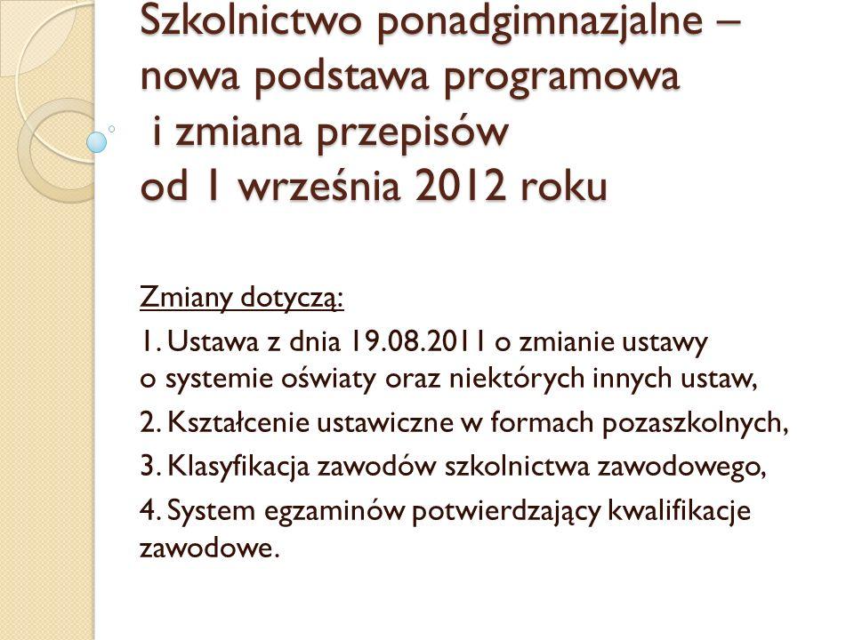 Szkolnictwo ponadgimnazjalne – nowa podstawa programowa i zmiana przepisów od 1 września 2012 roku Zmiany dotyczą: 1. Ustawa z dnia 19.08.2011 o zmian