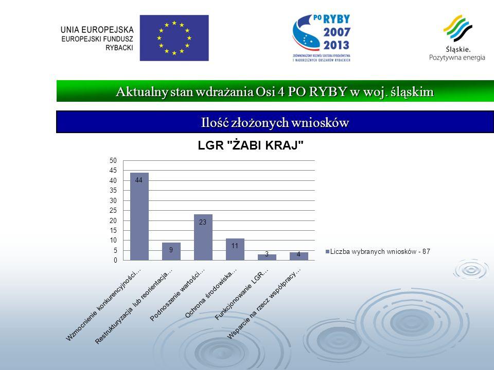Ilość złożonych wniosków Aktualny stan wdrażania Osi 4 PO RYBY w woj. śląskim