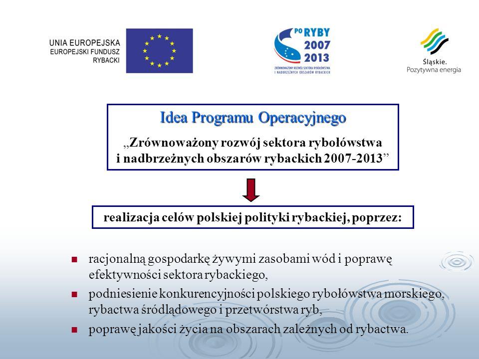 Program Operacyjny zakłada realizację celów strategicznych i podjęcie działań w następujących osiach priorytetowych: Oś Priorytetowa 1: Środki na rzecz dostosowania floty rybackiej Oś Priorytetowa 2: Akwakultura, rybołówstwo śródlądowe, przetwórstwo i obrót produktami rybołówstwa i akwakultury Oś Priorytetowa 3: Środki służące wspólnemu interesowi Oś Priorytetowa 4: Zrównoważony rozwój obszarów zależnych od rybactwa Oś Priorytetowa 4: Zrównoważony rozwój obszarów zależnych od rybactwa Oś Priorytetowa 5: Pomoc techniczna