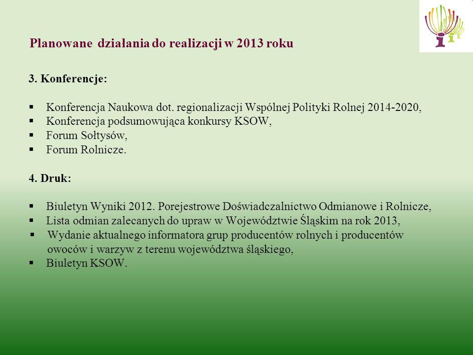 Planowane działania do realizacji w 2013 roku 3. Konferencje: Konferencja Naukowa dot.