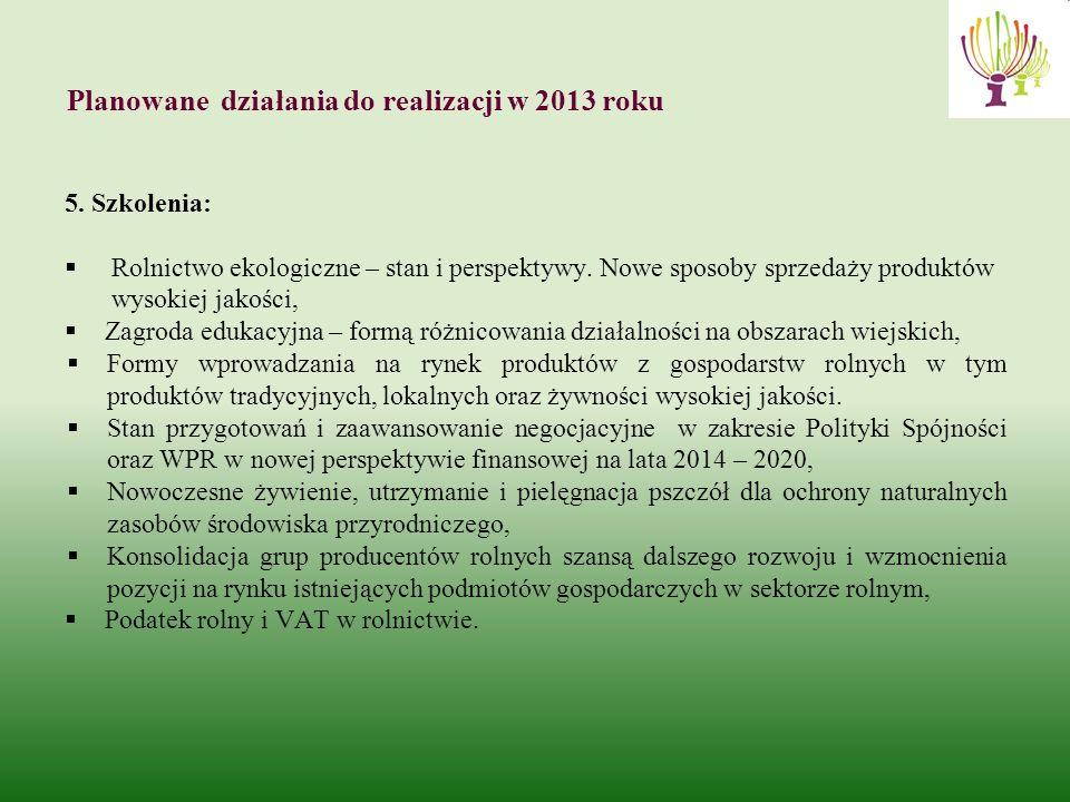 Planowane działania do realizacji w 2013 roku 5.