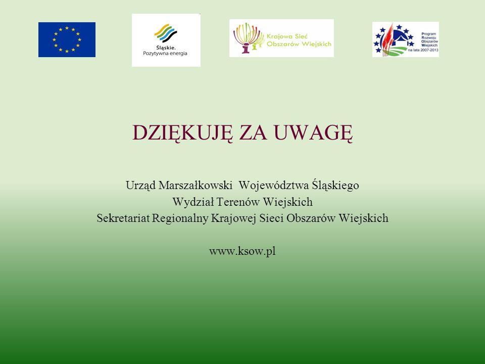 DZIĘKUJĘ ZA UWAGĘ Urząd Marszałkowski Województwa Śląskiego Wydział Terenów Wiejskich Sekretariat Regionalny Krajowej Sieci Obszarów Wiejskich www.ksow.pl