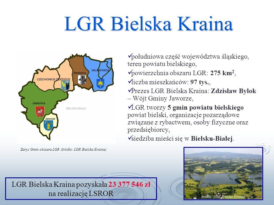 LGR Bielska Kraina południowa część województwa śląskiego, teren powiatu bielskiego, powierzchnia obszaru LGR: 275 km 2, liczba mieszkańców: 97 tys., Prezes LGR Bielska Kraina: Zdzisław Bylok – Wójt Gminy Jaworze, LGR tworzy 5 gmin powiatu bielskiego powiat bielski, organizacje pozarządowe związane z rybactwem, osoby fizyczne oraz przedsiębiorcy, siedziba mieści się w Bielsku-Białej.