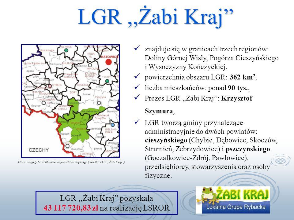 LGR,,Żabi Kraj znajduje się w granicach trzech regionów: Doliny Górnej Wisły, Pogórza Cieszyńskiego i Wysoczyzny Kończyckiej, powierzchnia obszaru LGR: 362 km 2, liczba mieszkańców: ponad 90 tys., Prezes LGR Żabi Kraj: Krzysztof Szymura, LGR tworzą gminy przynależące administracyjnie do dwóch powiatów: cieszyńskiego (Chybie, Dębowiec, Skoczów, Strumień, Zebrzydowice) i pszczyńskiego (Goczałkowice-Zdrój, Pawłowice), przedsiębiorcy, stowarzyszenia oraz osoby fizyczne.