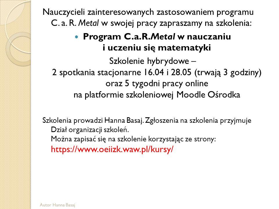 Nauczycieli zainteresowanych zastosowaniem programu C. a. R. Metal w swojej pracy zapraszamy na szkolenia: Program C.a.R.Metal w nauczaniu i uczeniu s