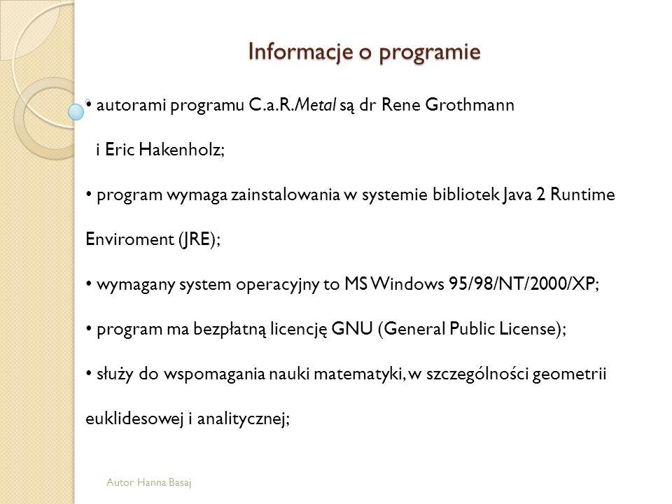 autorami programu C.a.R.Metal są dr Rene Grothmann i Eric Hakenholz; program wymaga zainstalowania w systemie bibliotek Java 2 Runtime Enviroment (JRE