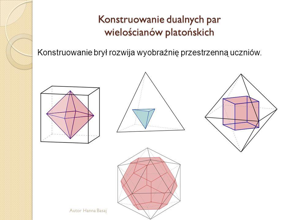 Konstruowanie dualnych par wielościanów platońskich Konstruowanie brył rozwija wyobraźnię przestrzenną uczniów. Autor Hanna Basaj
