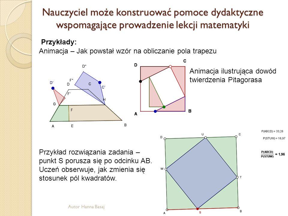 Nauczyciel może konstruować pomoce dydaktyczne wspomagające prowadzenie lekcji matematyki Animacja – Jak powstał wzór na obliczanie pola trapezu Anima