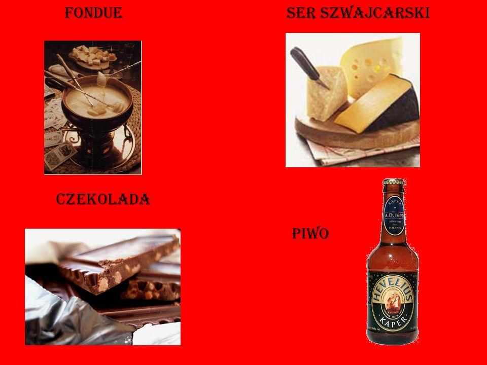 kuchnia Tradycyjnym szwajcarskim specja ł em jest fondue, które robione jest z roztopionego sera. Sery szwajcarskie takie jak gruyère czy emmentaler p