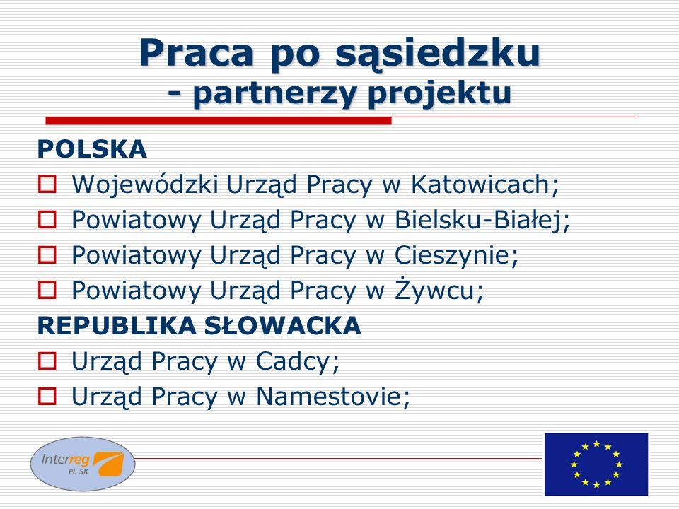 Praca po sąsiedzku - partnerzy projektu POLSKA Wojewódzki Urząd Pracy w Katowicach; Powiatowy Urząd Pracy w Bielsku-Białej; Powiatowy Urząd Pracy w Ci