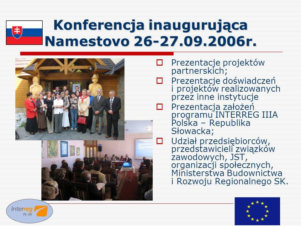 Konferencja inaugurująca Namestovo 26-27.09.2006r. Prezentacje projektów partnerskich; Prezentacje doświadczeń i projektów realizowanych przez inne in