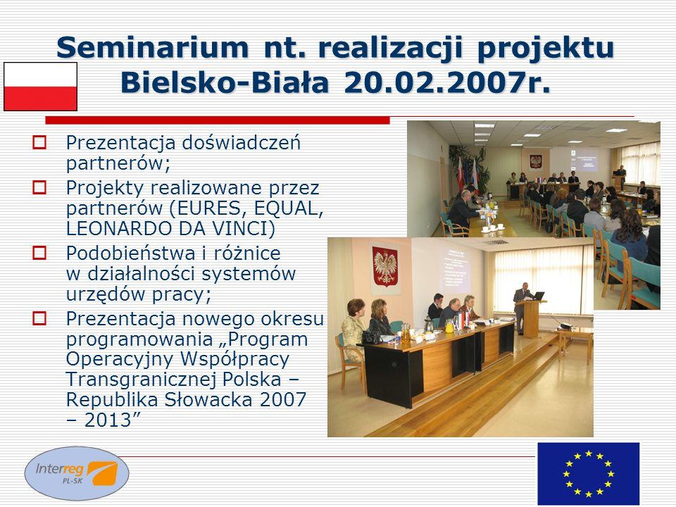 Seminarium nt. realizacji projektu Bielsko-Biała 20.02.2007r. Prezentacja doświadczeń partnerów; Projekty realizowane przez partnerów (EURES, EQUAL, L