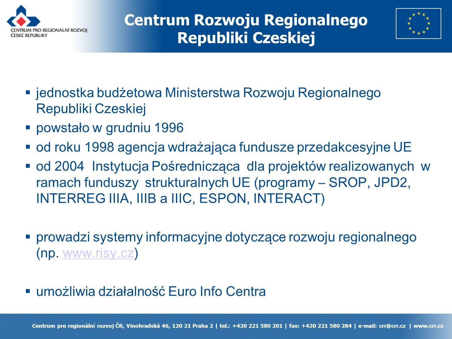 Obszar oddziaływania Programu IW INTERREG IIIA w Republice Czeskiej Centrum pro regionální rozvoj ČR, Vinohradská 46, 120 21 Praha 2 | tel.: +420 221 580 201 | fax: +420 221 580 284 | e-mail: crr@crr.cz | www.crr.cz