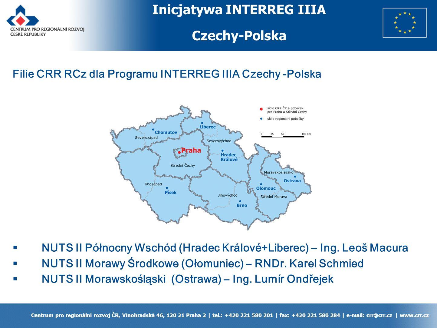 Inicjatywa INTERREG IIIA Czechy-Polska Centrum pro regionální rozvoj ČR, Vinohradská 46, 120 21 Praha 2 | tel.: +420 221 580 201 | fax: +420 221 580 284 | e-mail: crr@crr.cz | www.crr.cz Filie CRR RCz dla Programu INTERREG IIIA Czechy -Polska NUTS II Północny Wschód (Hradec Králové+Liberec) – Ing.