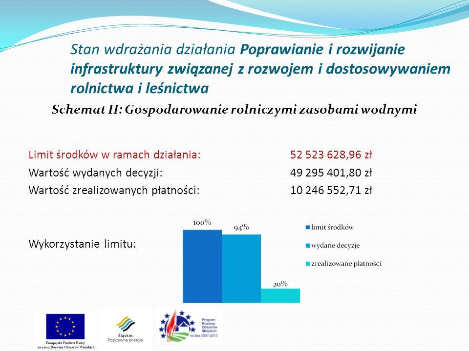 Stan wdrażania działania Poprawianie i rozwijanie infrastruktury związanej z rozwojem i dostosowywaniem rolnictwa i leśnictwa Schemat II: Gospodarowanie rolniczymi zasobami wodnymi Limit środków w ramach działania: 52 523 628,96 zł Wartość wydanych decyzji: 49 295 401,80 zł Wartość zrealizowanych płatności: 10 246 552,71 zł Wykorzystanie limitu: