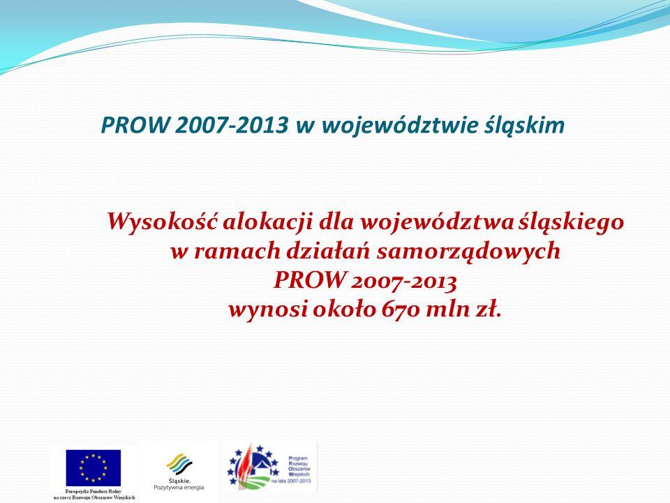 PROW 2007-2013 w województwie śląskim Wysokość alokacji dla województwa śląskiego w ramach działań samorządowych PROW 2007-2013 wynosi około 670 mln z