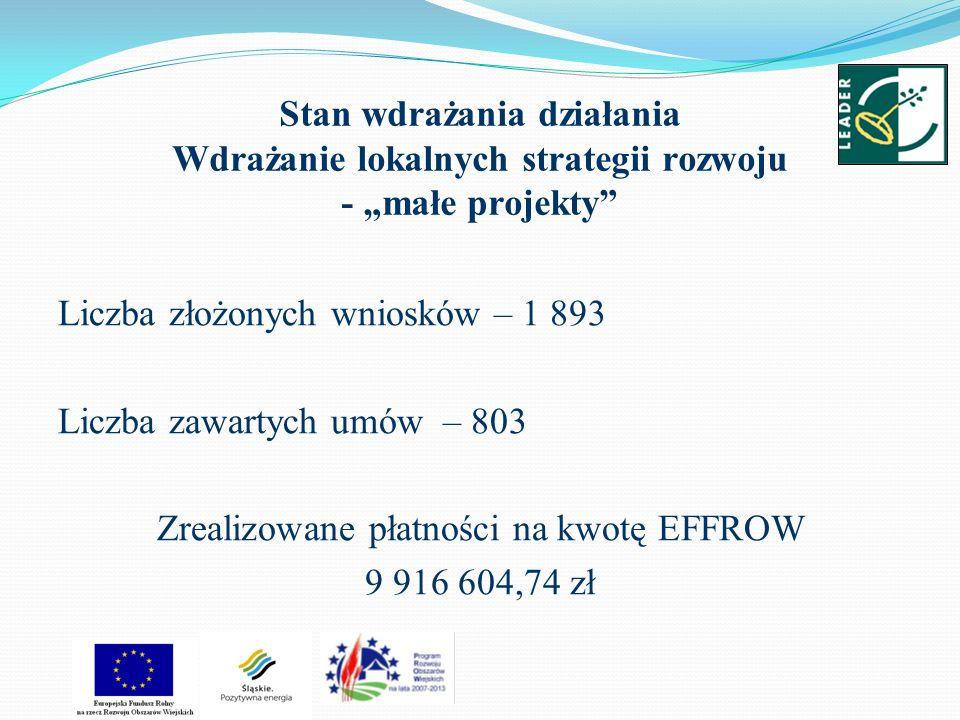 Stan wdrażania działania Wdrażanie lokalnych strategii rozwoju - małe projekty Liczba złożonych wniosków – 1 893 Liczba zawartych umów – 803 Zrealizow