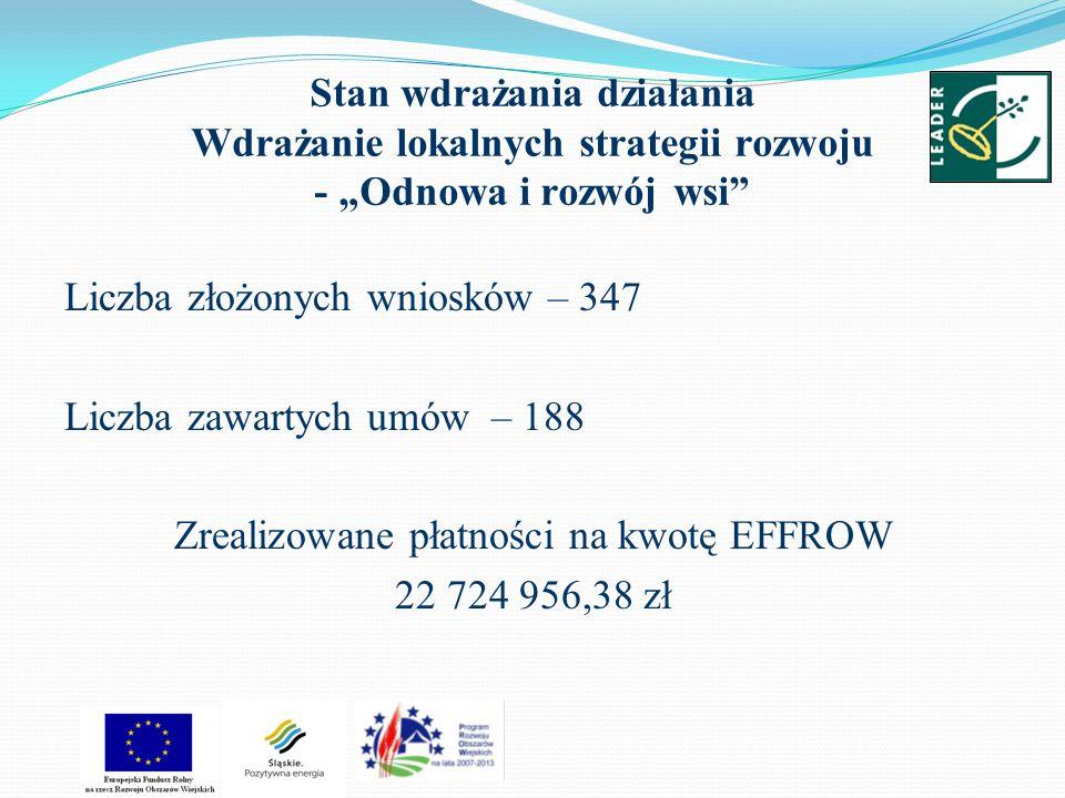 Stan wdrażania działania Wdrażanie lokalnych strategii rozwoju - Odnowa i rozwój wsi Liczba złożonych wniosków – 347 Liczba zawartych umów – 188 Zreal