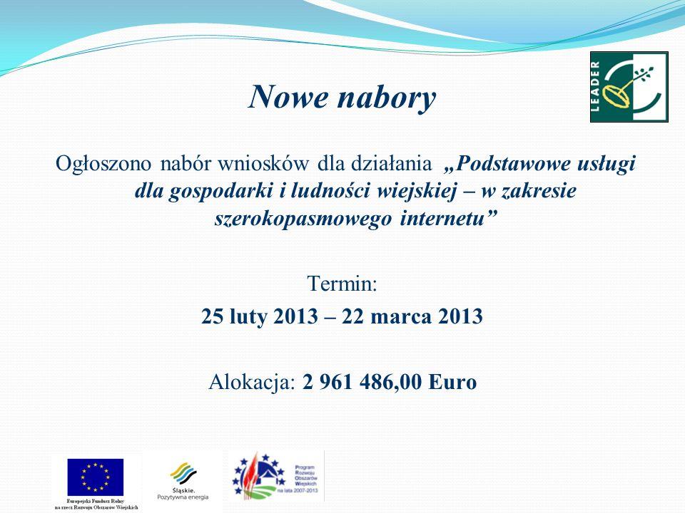 Nowe nabory Ogłoszono nabór wniosków dla działania Podstawowe usługi dla gospodarki i ludności wiejskiej – w zakresie szerokopasmowego internetu Termin: 25 luty 2013 – 22 marca 2013 Alokacja: 2 961 486,00 Euro