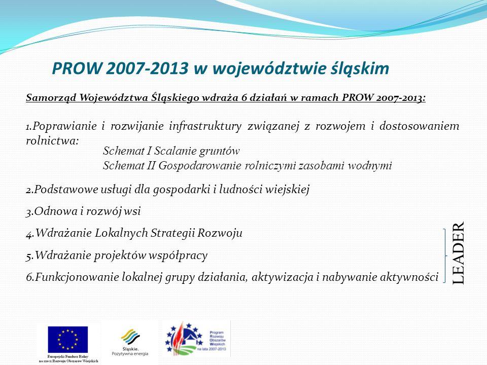 PROW 2007-2013 w województwie śląskim Samorząd Województwa Śląskiego wdraża 6 działań w ramach PROW 2007-2013: 1. Poprawianie i rozwijanie infrastrukt