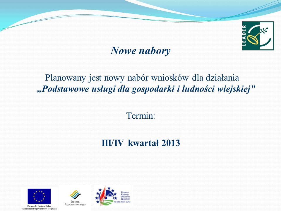 Nowe nabory Planowany jest nowy nabór wniosków dla działania Podstawowe usługi dla gospodarki i ludności wiejskiej Termin: III/IV kwartał 2013