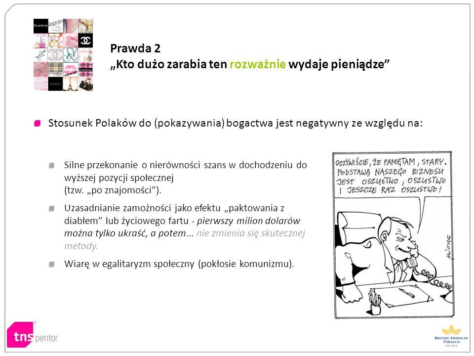 Stosunek Polaków do (pokazywania) bogactwa jest negatywny ze względu na: Silne przekonanie o nierówności szans w dochodzeniu do wyższej pozycji społec