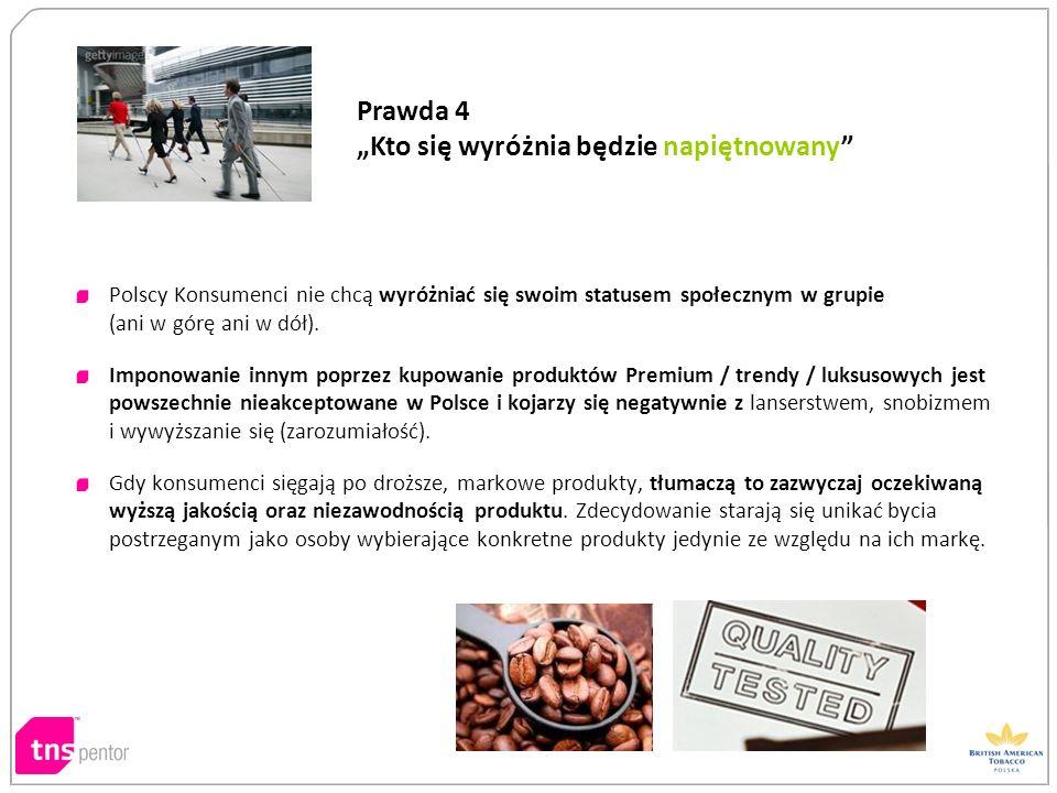 Polscy Konsumenci nie chcą wyróżniać się swoim statusem społecznym w grupie (ani w górę ani w dół). Imponowanie innym poprzez kupowanie produktów Prem