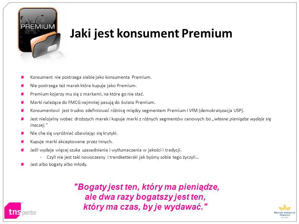 Konsument nie postrzega siebie jako konsumenta Premium. Nie postrzega też marek które kupuje jako Premium. Premium kojarzy mu się z markami, na które