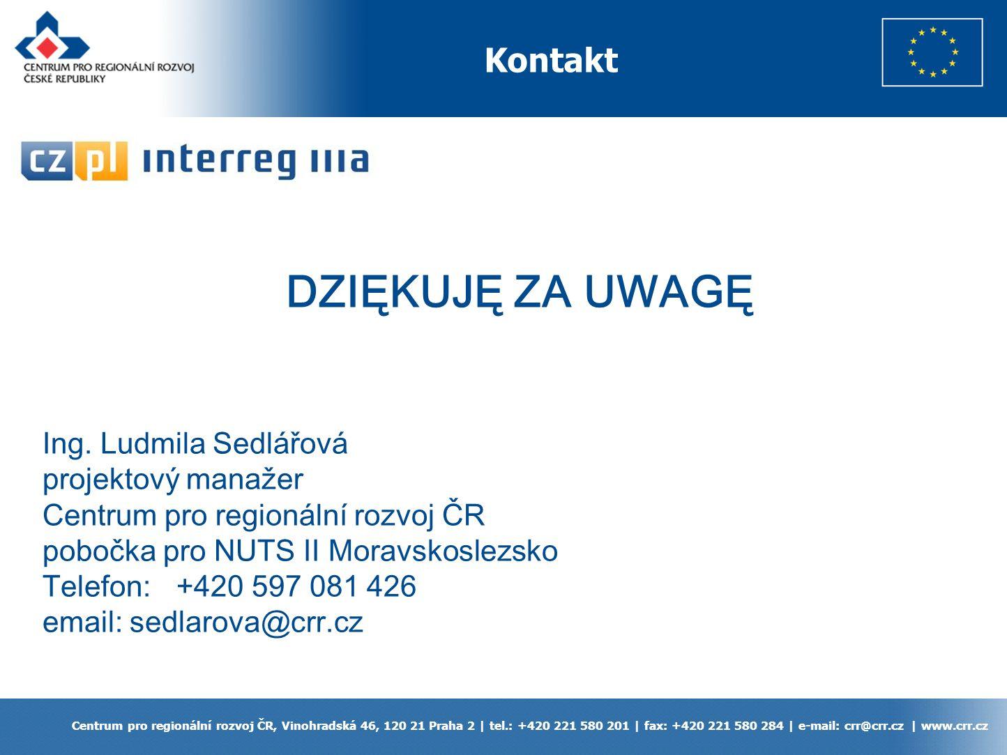 Kontakt Centrum pro regionální rozvoj ČR, Vinohradská 46, 120 21 Praha 2 | tel.: +420 221 580 201 | fax: +420 221 580 284 | e-mail: crr@crr.cz | www.crr.cz DZIĘKUJĘ ZA UWAGĘ Ing.