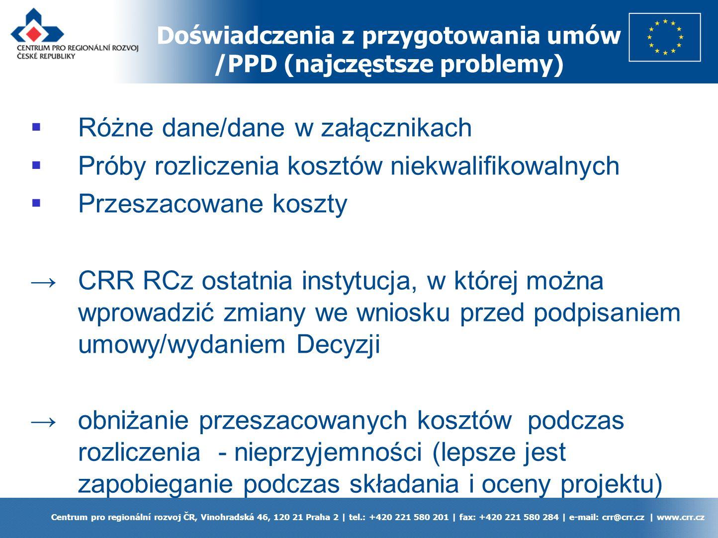 Doświadczenia z przygotowania umów /PPD (najczęstsze problemy) Centrum pro regionální rozvoj ČR, Vinohradská 46, 120 21 Praha 2 | tel.: +420 221 580 201 | fax: +420 221 580 284 | e-mail: crr@crr.cz | www.crr.cz Różne dane/dane w załącznikach Próby rozliczenia kosztów niekwalifikowalnych Przeszacowane koszty CRR RCz ostatnia instytucja, w której można wprowadzić zmiany we wniosku przed podpisaniem umowy/wydaniem Decyzji obniżanie przeszacowanych kosztów podczas rozliczenia - nieprzyjemności (lepsze jest zapobieganie podczas składania i oceny projektu)