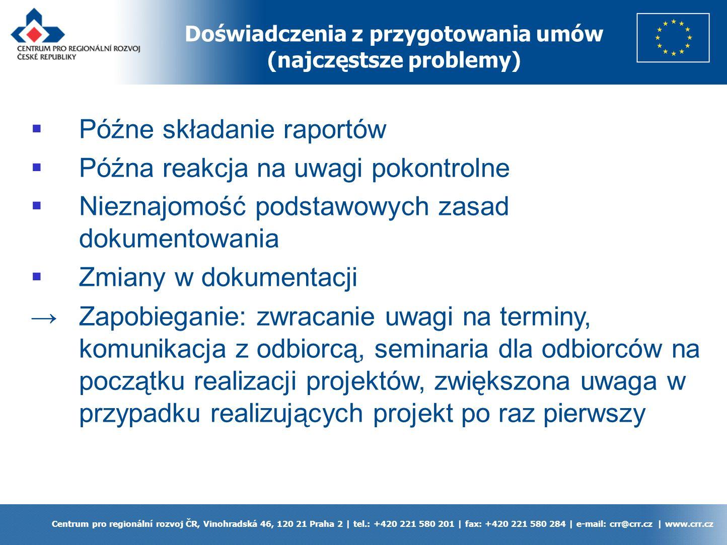 Doświadczenia z przygotowania umów (najczęstsze problemy) Centrum pro regionální rozvoj ČR, Vinohradská 46, 120 21 Praha 2 | tel.: +420 221 580 201 | fax: +420 221 580 284 | e-mail: crr@crr.cz | www.crr.cz Późne składanie raportów Późna reakcja na uwagi pokontrolne Nieznajomość podstawowych zasad dokumentowania Zmiany w dokumentacji Zapobieganie: zwracanie uwagi na terminy, komunikacja z odbiorcą, seminaria dla odbiorców na początku realizacji projektów, zwiększona uwaga w przypadku realizujących projekt po raz pierwszy