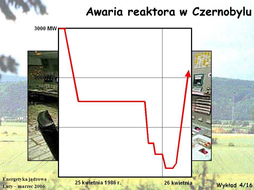 Energetyka jądrowa Luty – marzec 2006 Wykład 4/16 Awaria reaktora w Czernobylu