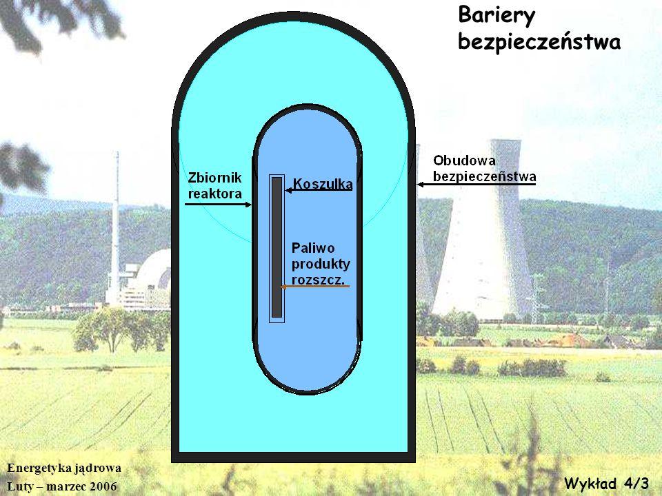Energetyka jądrowa Luty – marzec 2006 Wykład 4/3 Bariery bezpieczeństwa