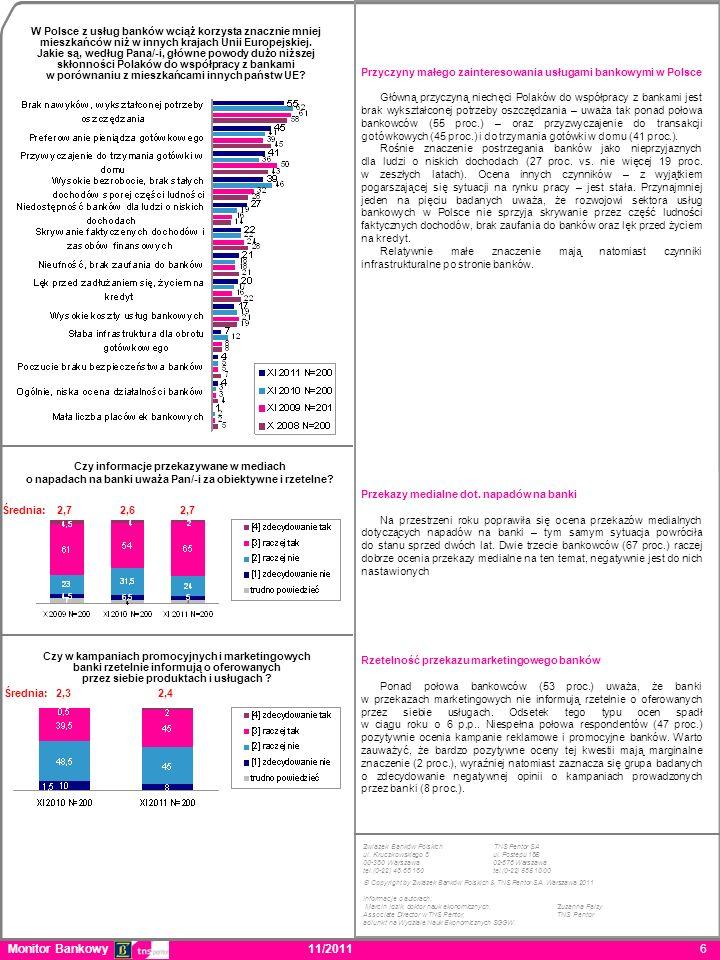 Monitor Bankowy 11/2011 6 Przyczyny małego zainteresowania usługami bankowymi w Polsce Główną przyczyną niechęci Polaków do współpracy z bankami jest brak wykształconej potrzeby oszczędzania – uważa tak ponad połowa bankowców (55 proc.) – oraz przyzwyczajenie do transakcji gotówkowych (45 proc.) i do trzymania gotówki w domu (41 proc.).