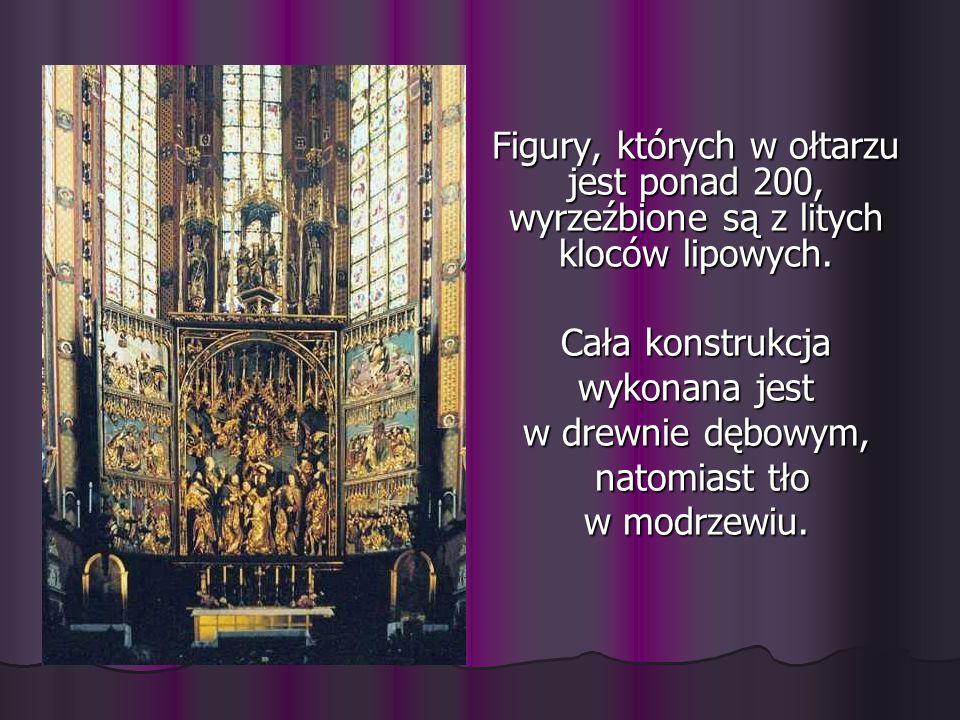 Figury, których w ołtarzu jest ponad 200, wyrzeźbione są z litych kloców lipowych. Cała konstrukcja wykonana jest w drewnie dębowym, natomiast tło nat