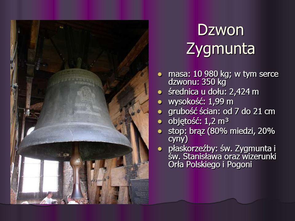Dzwon Zygmunta masa: 10 980 kg; w tym serce dzwonu: 350 kg masa: 10 980 kg; w tym serce dzwonu: 350 kg średnica u dołu: 2,424 m średnica u dołu: 2,424
