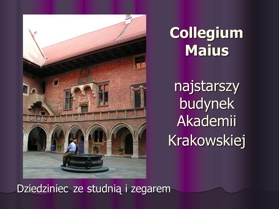 Collegium Maius najstarszy budynek Akademii Krakowskiej Dziedziniec ze studnią i zegarem