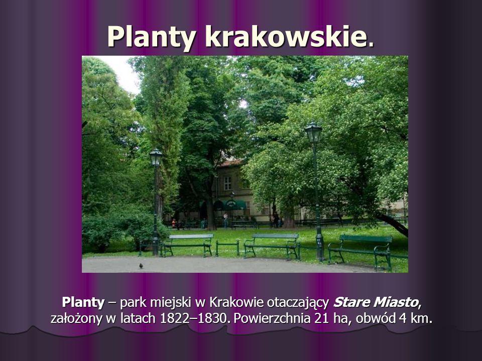 Planty krakowskie. Planty – park miejski w Krakowie otaczający Stare Miasto, założony w latach 1822–1830. Powierzchnia 21 ha, obwód 4 km.