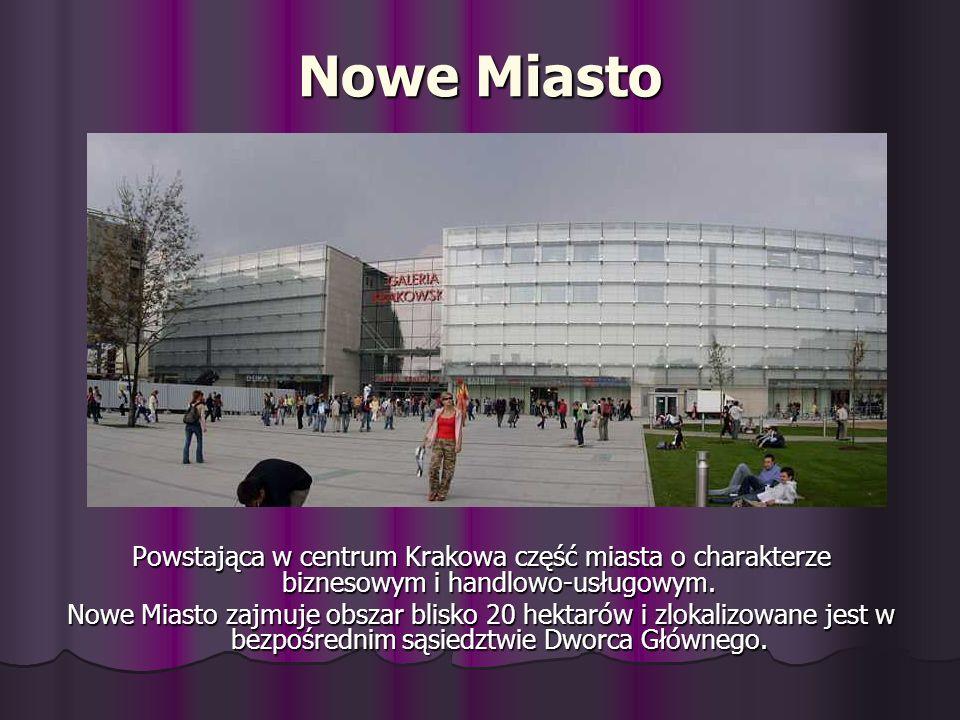Nowe Miasto Powstająca w centrum Krakowa część miasta o charakterze biznesowym i handlowo-usługowym. Nowe Miasto zajmuje obszar blisko 20 hektarów i z